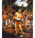 Lord Caitanya Dances with the Body of Haridas Thakur