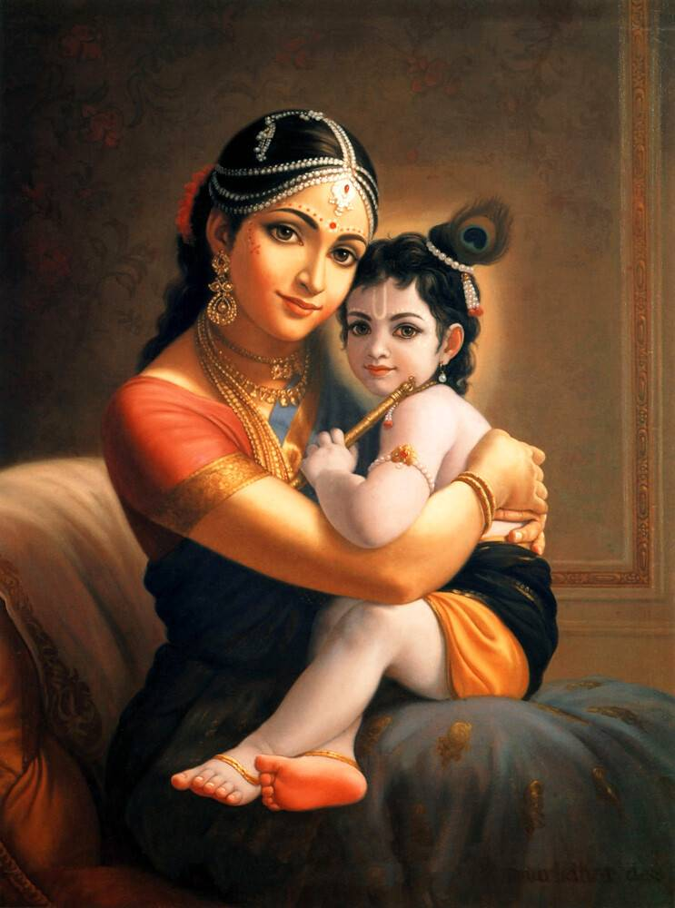 Mother Yashoda and Baby Krishna Painting - Art Poster