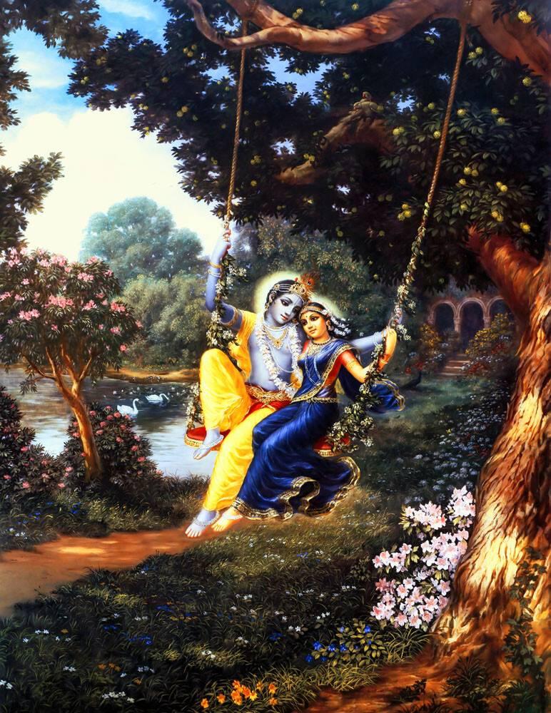 radha and krishna on swing painting 2 art print on