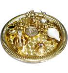 "Medium Aroti Set (11.5"" tray with Bell, Incense Holder, Flower Tray, Conch, Ghee Lam"