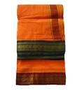 Dhoti / Chadar -- Colored Cotton, Ganga-Yamuna Embroidered Borders