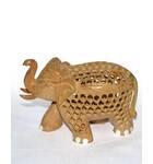 Hand-Carved Wood Elephant Figure