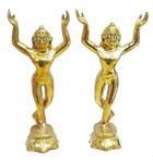 """Gaura Nitai Deities (7"""" brass)"""