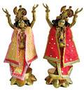 Gaura Nitai Deity Clothes -- Contrasting Colors, Open Top and Diamond Work