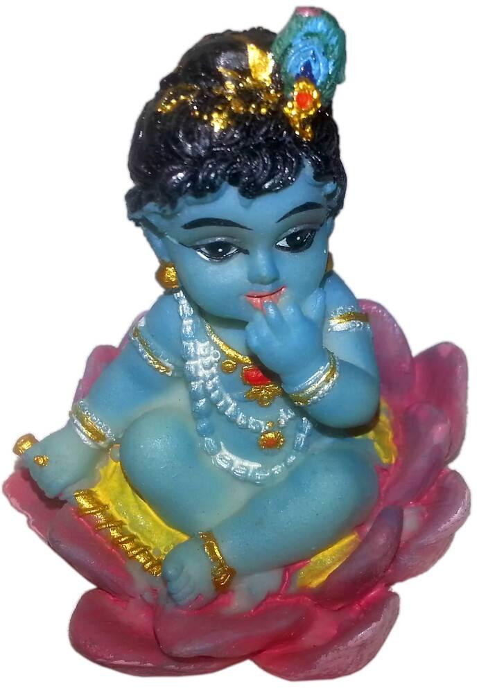 Baby Krishna Sitting In A Lotus Flower Polyresin Figure 25 High