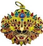 Lord Nrsimhadeva Pendant -- Copper Colored Back