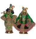 Radha Krishna Floral Dress with Gems and Thread Work (Type 3)