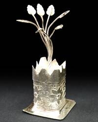 Altar Decoration, White Metal -- Tulsi Maharani