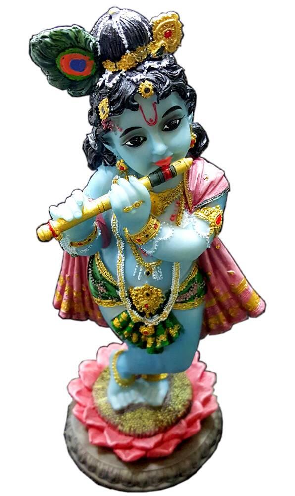 Lotus Krishna Standing On Lotus Flower Polyresin Figure 8