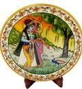Marble Hand Painted Plate with Radha Krishna 9""