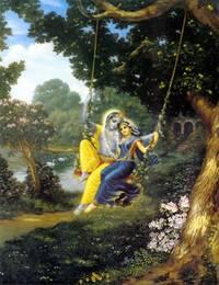 Radha and Krishna on Swing (Greeting Card Pack of 10)