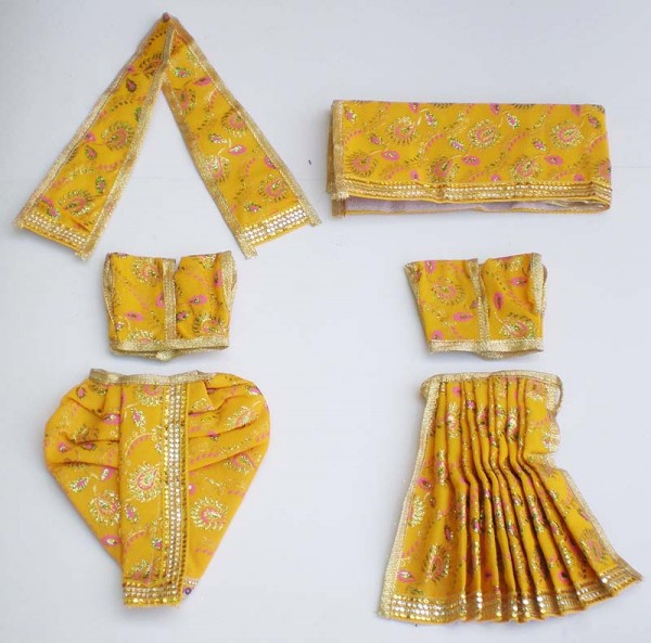 Radha Krishna Dress With Embroidery -- Yellow