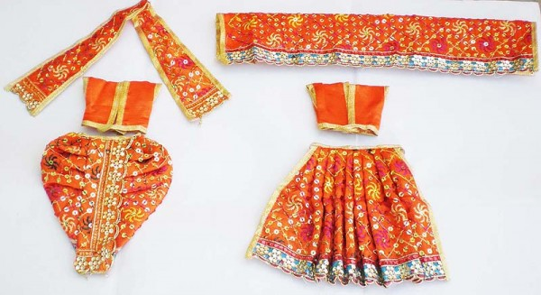 Radha Krishna Dress With Sequins -- Orange