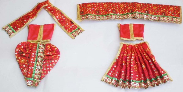 Radha Krishna Dress With Sequins -- Red