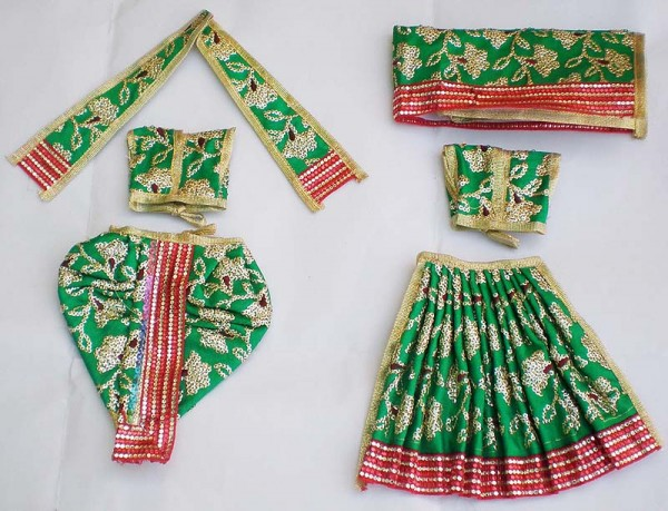 Radha Krishna Dress With Hand Embroidery Green