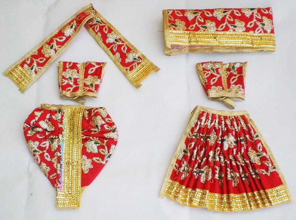 Radha Krishna Dress With Hand Embroidery -- Red
