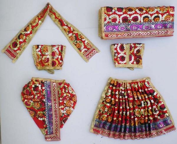 Radha Krishna Dress with Round Sequins -- Red