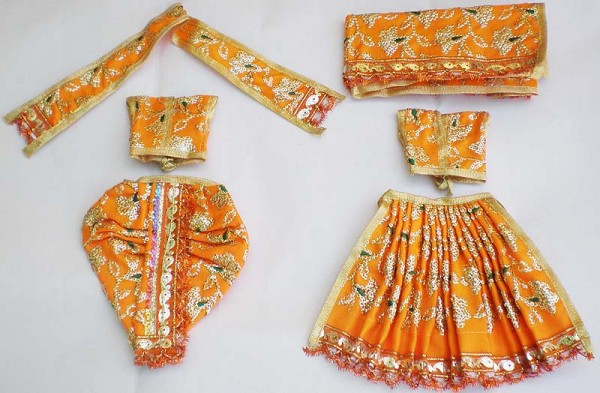 Radha Krishna Dress With Hand Embroidery -- Yellow
