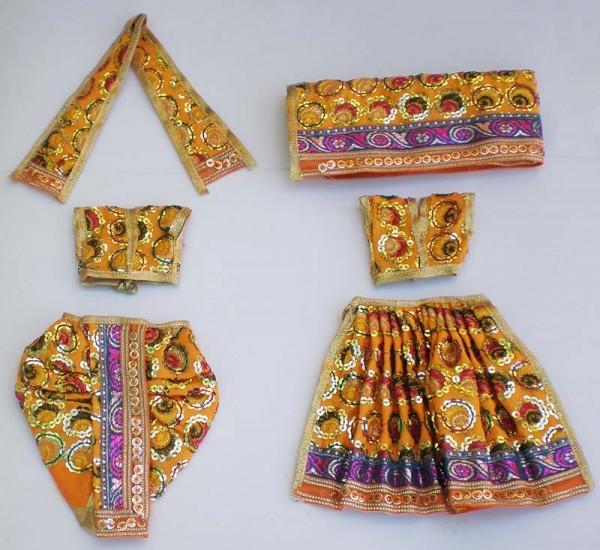 Radha Krishna Dress with Round Sequins -- Yellow