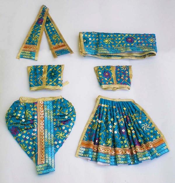 Radha Krishna Dress With Embroidery -- Blue