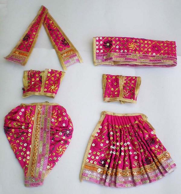 Radha Krishna Dress With Embroidery -- Dark Pink