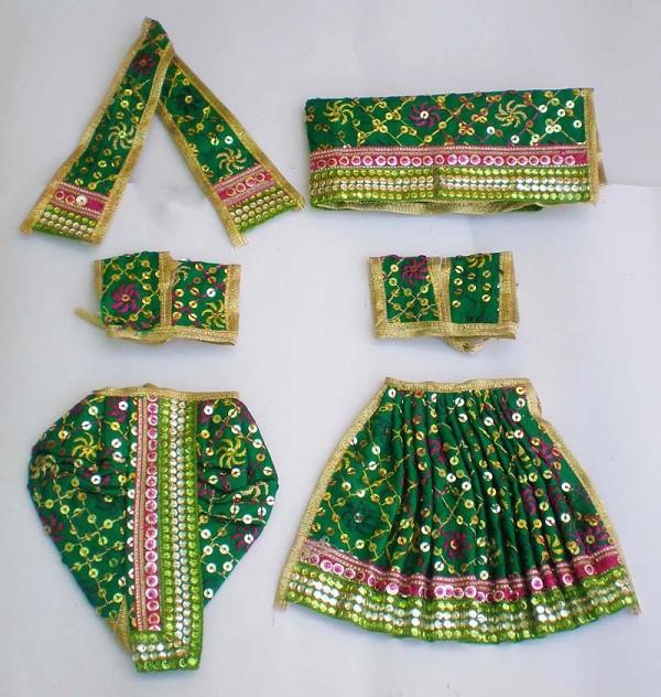 Radha Krishna Dress Wit Embroidery -- Green
