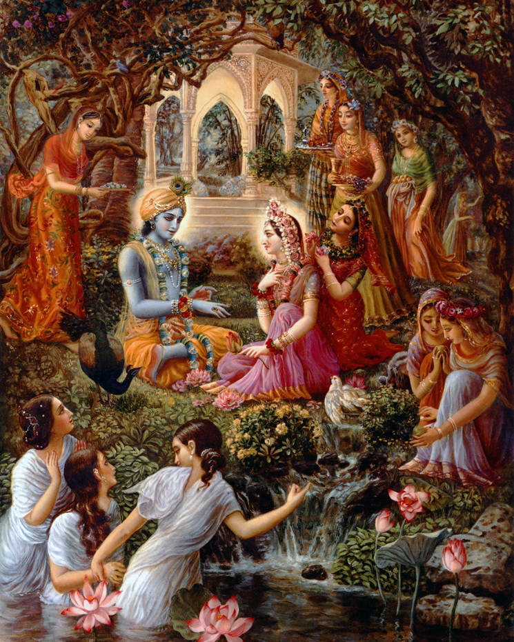 radha and krishna with gopis in vrindavan