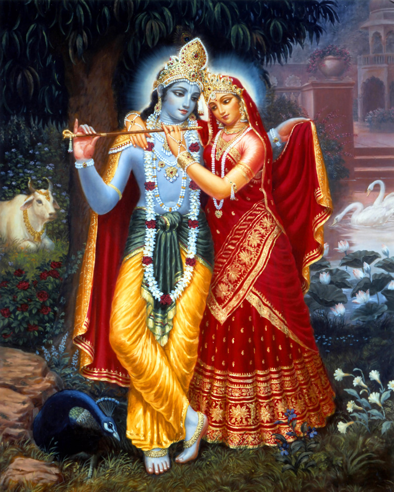 radha and krishna painting art print on canvas or paper